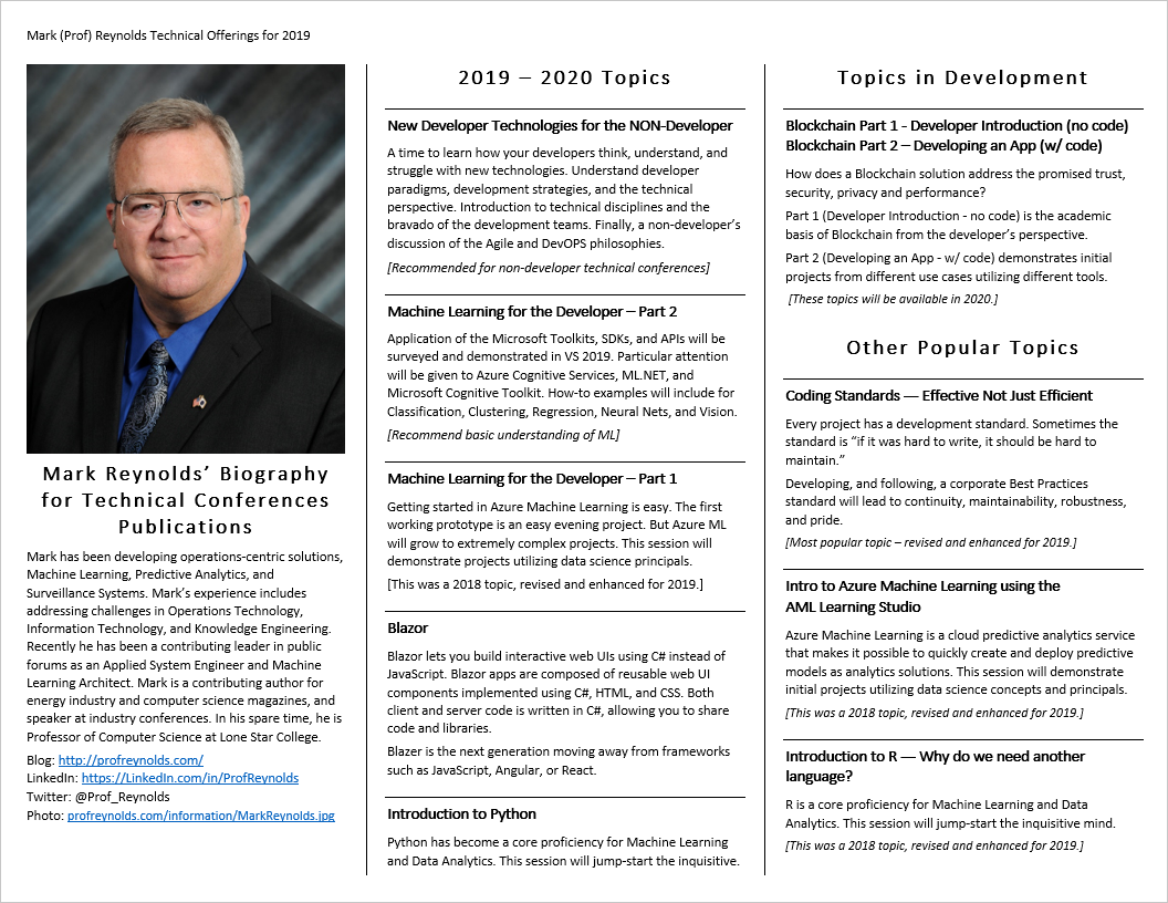 2020 Technical Conference Offerings